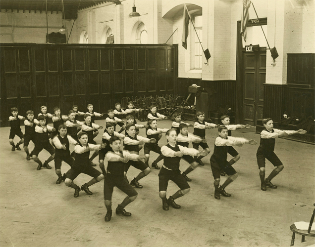 A boys physical training class at the Police Orphanage